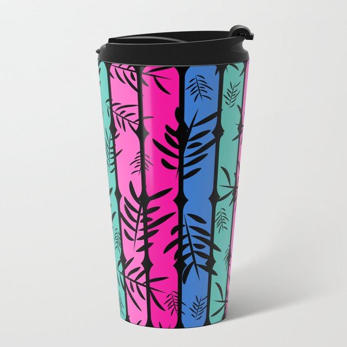 Fall over colorful stripes Metal Travel Mug
