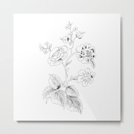 black-and-white arrangement of flowers and leaves Metal Print