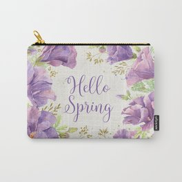 Hello Spring Blue Hibiscus Carry-All Pouch