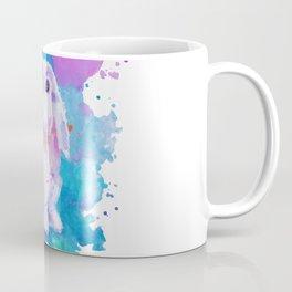 White bunny on blue Coffee Mug