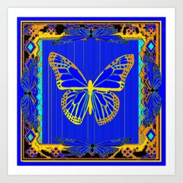 Lapis Blue & Gold Monarch Western Art design Art Print