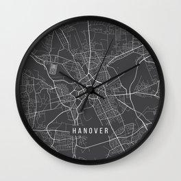 Hanover Map, Germany - Gray Wall Clock