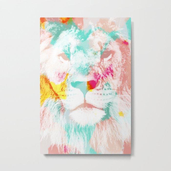 Lion Abstract - pink blue orange Metal Print