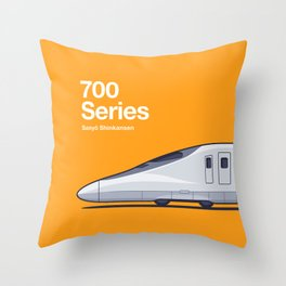 700 Series Shinkansen Orange Side Profile Throw Pillow