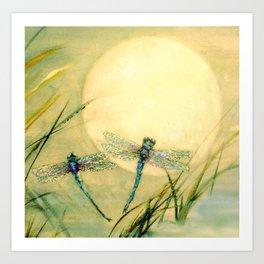 Dragonfly Moon  Art Print