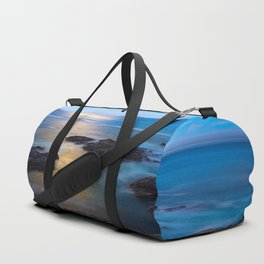 On the Rocks - Moonlight Reflects Off Pacific Ocean in California Duffle Bag