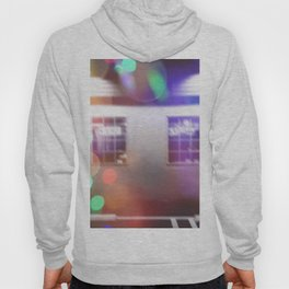 restaurant in the city with the colorful night light bokeh abstract Hoody