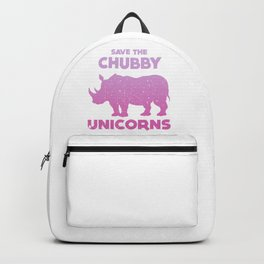 Save The Chubby Unicorn t shirt - Funny phrases tees. Save the Hinoceros. Backpack