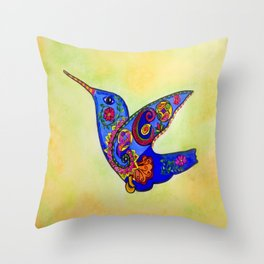 humming bird in color with green-yellow back ground Throw Pillow