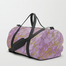 Gold Glitter and Ultra Violet Marble Agate Duffle Bag