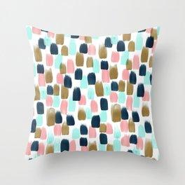Pink, Mint, Navy & Gold Abstract Print, Nursery Art, Little Girls Room Throw Pillow