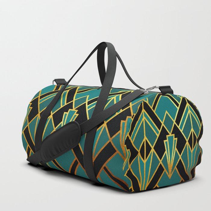 Art Deco Keep On Walking In Turquoise Duffle Bag