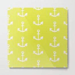 Anchors - Yellow Metal Print