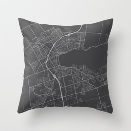 Barrie Map, Canada - Gray Throw Pillow