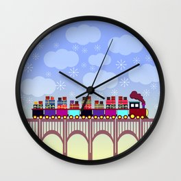 A train with Christmas gifts Wall Clock