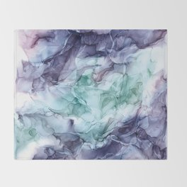 Growth- Abstract Botanical Fluid Art Painting Throw Blanket