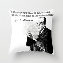 CS Lewis Fairy Tales Again Throw Pillow