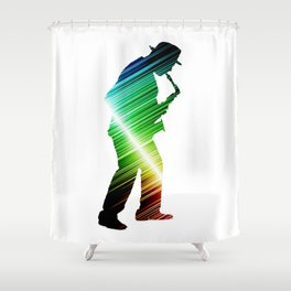 Saxophone player 03 Shower Curtain