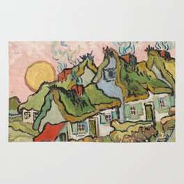 Houses and Figure by Vincent Van Gogh, 1890 Rug