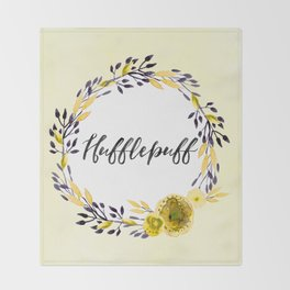 HP Hufflepuff in Watercolor Throw Blanket