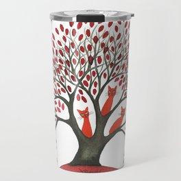 Red Oak Whimsical Cats in Tree Travel Mug