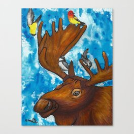 Four Birds and a Moose Canvas Print