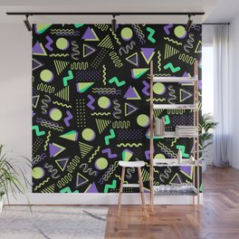 Geometrical retro lime green neon purple 80's abstract pattern Wall Mural
