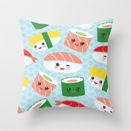 pattern Kawaii funny sushi rolls set with pink cheeks and big eyes, emoji Throw Pillow