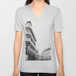 California Charm | Black and White Eureka CA Downtown Buildings Cityscape Photograph Unisex V-Neck
