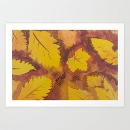 Yellow Autumn Leaf and a red pear painting Fall pattern inspired by nature colors Art Print