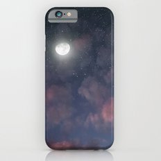 Glowing Moon on the night sky through pink clouds iPhone 6s Slim Case