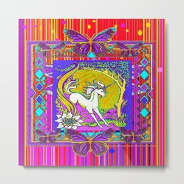Chromatic  Dancing Unicorn Floral Abstract Metal Print