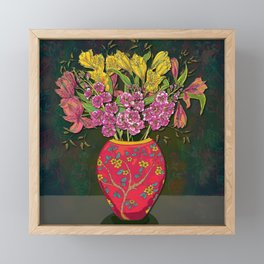 Red Vase and Flowers Framed Mini Art Print