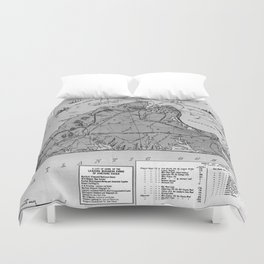 Vintage Map of Martha's Vineyard (1913) BW Duvet Cover