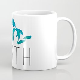 UP NORTH with watercolor great lakes Coffee Mug