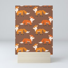 Cute Side View Fox Illustration with Brown Background Mini Art Print