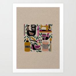 Crafty = Happy // Craft Supplies Folk Art Style Illustration Art Print