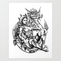 beauty and the beast Art Prints featuring Beauty and the beast by misscrocodile63/drawings/photo/paintings
