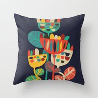 leaves Throw Pillows featuring Wild Flowers by Picomodi