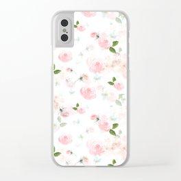 Blush Florals Clear iPhone Case