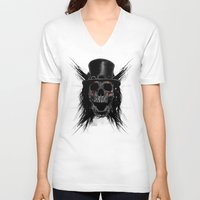 hat V-neck T-shirts featuring Skull Hat by Fathi