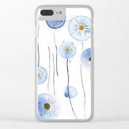 blue abstract dandelion 2 Clear iPhone Case