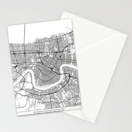 New Orleans Map White Stationery Cards