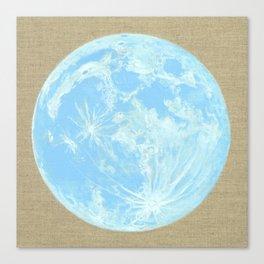 Moon Portrait 4, Blue Moon Canvas Print