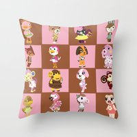 animal crossing Throw Pillows featuring Animal Crossing: Chocolate Strawberry by Square Aquarium