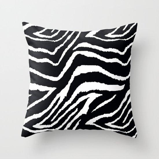 Black And White Zebra Throw Pillows : ZEBRA ANIMAL PRINT BLACK AND WHITE PATTERN Throw Pillow by Saundra Myles Society6