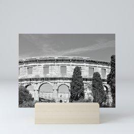 arena amphitheatre pula croatia ancient black white Mini Art Print