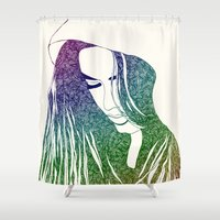 hiphop Shower Curtains featuring She by Square Lemon