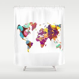 Map of the world colored geometric Shower Curtain