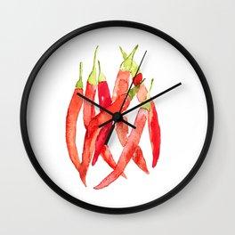 Watercolor Chilies Wall Clock